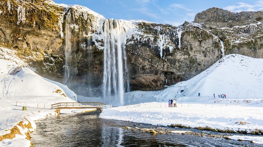 Seljalandsfoss Wasserfall im Winter
